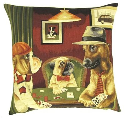 DOGS ENGLISH BULLDOG, PUG AND RHODESIAN RIDGEBACK PLAYING POKER European Belgian Tapestry Throw Pillow Cases - Decorative 18 X 18 Square Pillow Covers - Zippered Throw Pillow Case - Jacquard Woven Belgium Tapestry Cushion Covers - Fun Dressed Dog Throw Cushions - Dog Lover Gift - Poker Game Room Home Decor Gifts