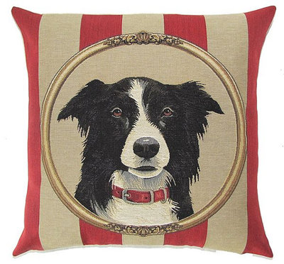 DOG BORDER COLLIE PORTRAIT Belgian Tapestry Throw Pillow Cases - Decorative 18 X 18 Square Pillow Covers - Zippered Throw Pillow Case - Jacquard Woven Belgium Tapestry Cushion Covers - Fun Dressed Dog Throw Cushions - Dog Lover Gift - Border Collie Home Decor Gifts