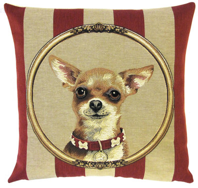 DOG CHIHUAHUA PORTRAIT Belgian Tapestry Throw Pillow Cases - Decorative 18 X 18 Square Pillow Covers - Zippered Throw Pillow Case - Jacquard Woven Belgium Tapestry Cushion Covers - Fun Dressed Dog Throw Cushions - Dog Lover Gift - Chihuahua Home Decor Gifts