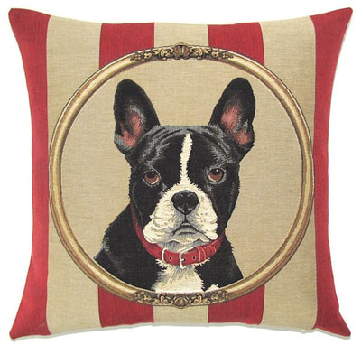DOG BOSTON TERRIER PORTRAIT Belgian Tapestry Throw Pillow Cases - Decorative 18 X 18 Square Pillow Covers - Zippered Throw Pillow Case - Jacquard Woven Belgium Tapestry Cushion Covers - Fun Dressed Dog Throw Cushions - Dog Lover Gift - Boston Terrier Home Decor Gifts