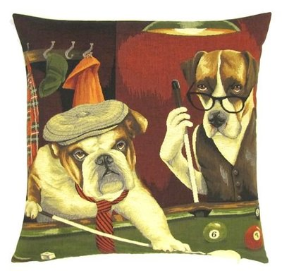 DOGS ENGLISH BULLDOG AND BOXER PLAYING POOL European Belgian Tapestry Throw Pillow Cases - Decorative 18 X 18 Square Pillow Covers - Zippered Throw Pillow Case - Jacquard Woven Belgium Tapestry Cushion Covers - Fun Dressed Dog Throw Cushions - Dog Lover Gift - Pool Billiard Game Room Home Decor Gifts