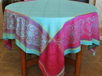 RENAISSANCE TURQUOISE Jacquard Woven Teflon Cotton Coated French Tablecloths - Easy Clean Elegant Modern French Party Table Decor - French Home Decor Gifts