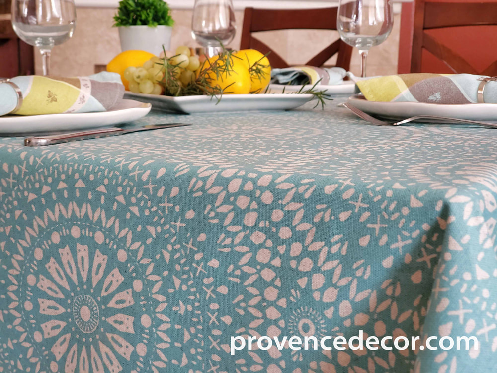 CASSIS AQUA Contemporary Art Design Acrylic Cotton Coated Tablecloths - French Oilcloth Spill Proof Easy Wipe Off Party Cloth - Indoor Outdoor Elegant Classic Modern Home Decor