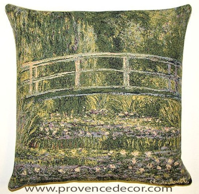 "The WATER LILY POND Tapestry Cushion is a replica of Claude Monet's famous artwork in Tapestry. The details are exquisite, looks like a real painting. These gorgeous Jacquard Tapestry Throw Pillow Cases are the authentic GOBELIN Tapestry woven with 100% high quality cotton, lined with a soft beige velvet backing and close with a zipper. Size: 18"" X 18"""