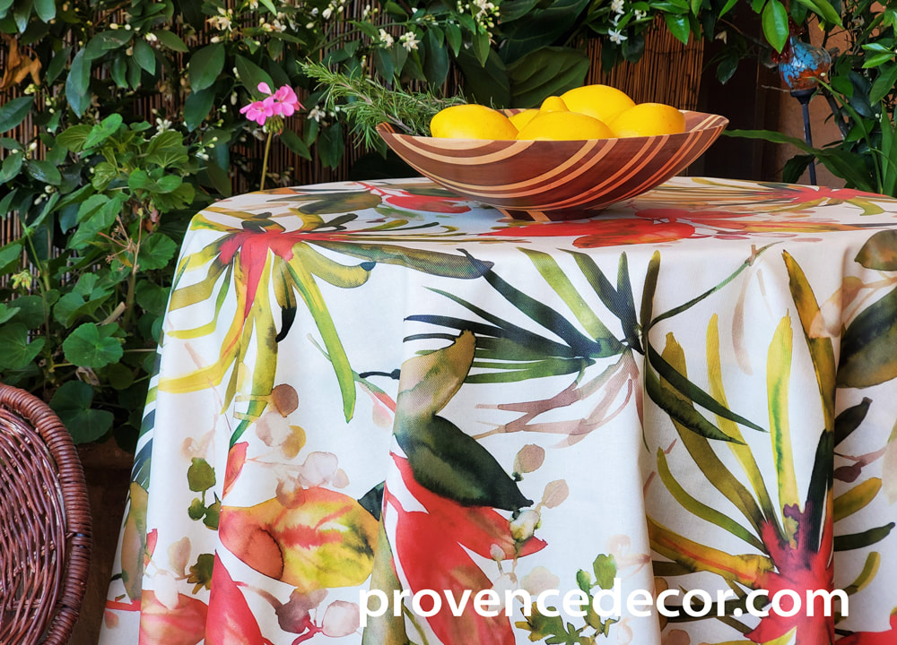 ISABELLA FLORAL Acrylic Cotton Coated Table cloths- French Oilcloth Indoor Outdoor Party Table Decor - Spill Proof Easy Wipe Off Laminated Tablecloths - French Elegant Nature Flowers Home Decor Gifts