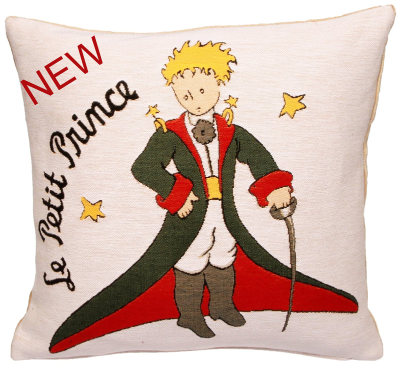 THE LITTLE PRINCE Authentic European Tapestry Decorative Throw Pillow Cases - Le Petit Prince Jacquard Woven 18 X 18 Cushion Covers - Little Prince Napoleon Antoine de Saint-Exupéry Art Lovers Gift - Famous Art Gallery Gifts Home Decor