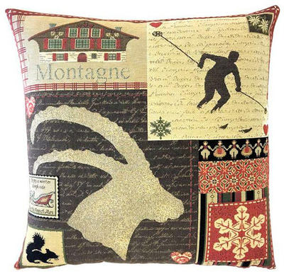 "This MOUNTAIN HOUSE GOAT Tapestry Pillow Cover is woven on a Jacquard loom (crafted with true traditional tapestry technique) with 100% high quality cotton thread, lined with a plain beige cotton backing and closes with a zipper. Size: 18"" X 18"""
