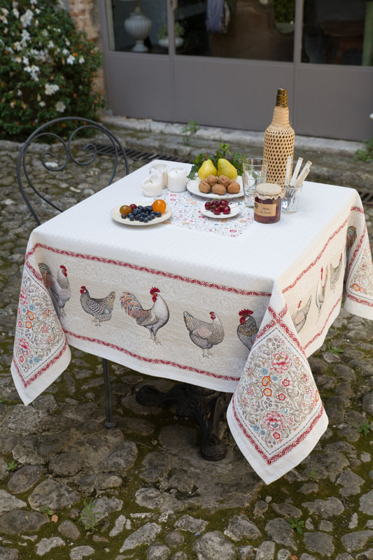 ROOSTER GALANT French Provence Jacquard Woven Tapestry Tablecloths - Elegant Rectangle Tablecloth - Square Table Topper Couch Throw - French Home Decor