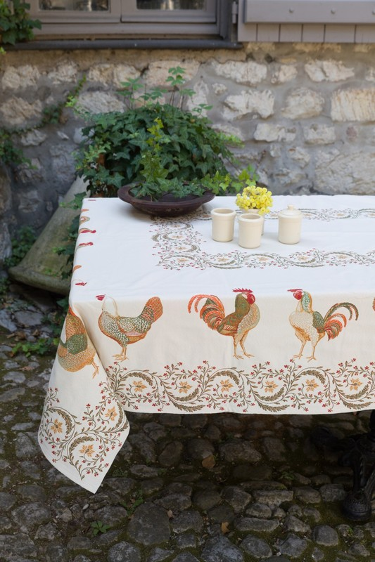 ROOSTER RUSTIC French Provence Jacquard Woven Tapestry Tablecloths - Elegant Rectangle Tablecloth - Square Table Topper Couch Throw - French Home Decor
