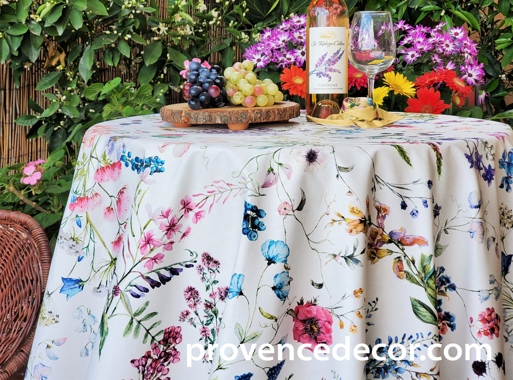 SYLVIE WILDFLOWERS French Country Wild Flowers Berries Rectangle Table cloths - Acrylic Cotton Coated Easy Wipe Off Fabric - Indoor Outdoor Party Table Decor