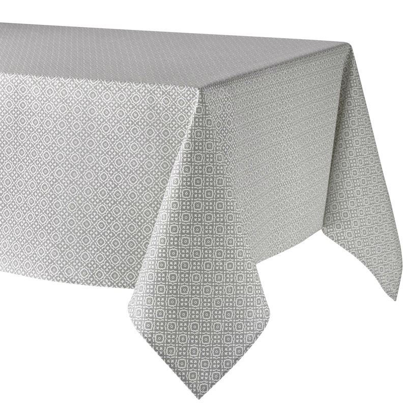 BASTILLE GRAY WHITE Acrylic Coated French Provence Rectangle Tablecloth - French Oilcloth Indoor Outdoor Table Decor - Water and Stain Resistant Tablecloths - Elegant French Home Decor Gifts