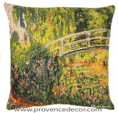 "The JAPANESE BRIDGE Tapestry Cushion is a replica of Claude Monet's famous artwork in Tapestry. The details are exquisite, looks like a real painting. These gorgeous Jacquard Tapestry Throw Pillow Cases are the authentic GOBELIN Tapestry woven with 100% high quality cotton, lined with a soft beige velvet backing and close with a zipper. Size: 18"" X 18"""