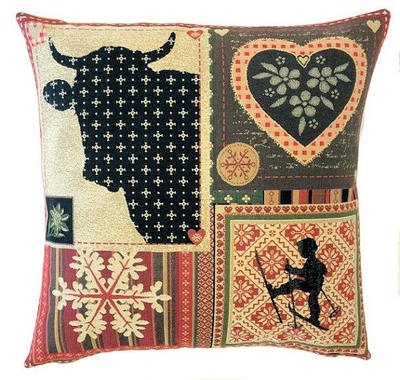 "This MOUNTAIN HOUSE COW Tapestry Pillow Cover is woven on a Jacquard loom (crafted with true traditional tapestry technique) with 100% high quality cotton thread, lined with a plain beige cotton backing and closes with a zipper. Size: 18"" X 18"""