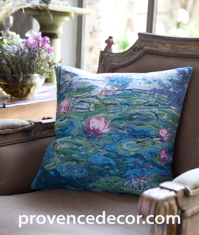 NYMPHEAS WATER LILIES Jacquard Woven Gobelin Tapestry Throw Pillow Cases - Claude Monet Art Lovers Gift Cushion Covers - Famous Art Gallery Gifts Home Decor