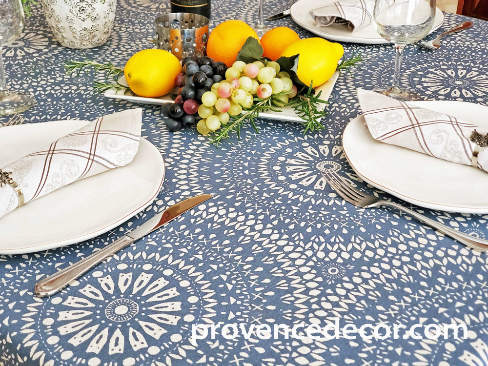 CASSIS BLUE Contemporary Art Design Acrylic Cotton Coated Tablecloths - French Oilcloth Spill Proof Easy Wipe Off Party Cloth - Indoor Outdoor Elegant Modern French Home Decor