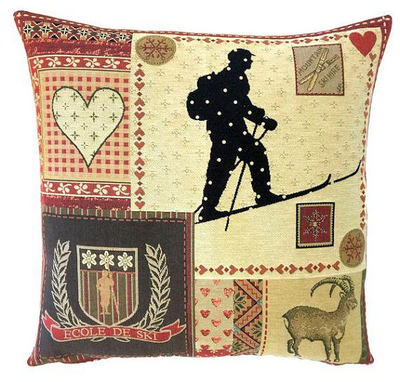 "This MOUNTAIN HOUSE SKI Tapestry Pillow Cover is woven on a Jacquard loom (crafted with true traditional tapestry technique) with 100% high quality cotton thread, lined with a plain beige cotton backing and closes with a zipper. Size: 18"" X 18"""