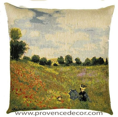 "The POPPY FIELD Tapestry Cushion is a replica of Claude Monet's famous artwork in Tapestry. The details are exquisite, looks like a real painting. These gorgeous Jacquard Tapestry Throw Pillow Cases are the authentic GOBELIN Tapestry woven with 100% high quality cotton, lined with a soft beige velvet backing and close with a zipper. Size: 18"" X 18"""