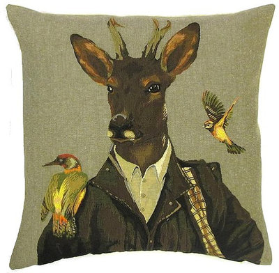 FOREST DEER IN COAT AND BIRDS Belgian Tapestry Throw Pillow Cases - Decorative 18 X 18 Square Pillow Covers - Zippered Throw Pillow Case - Jacquard Woven Belgium Tapestry Cushion Covers - Fun Forest Animals Throw Cushions - Mountain House Forest Ranger Deer Stag Birds Home Decor Gifts