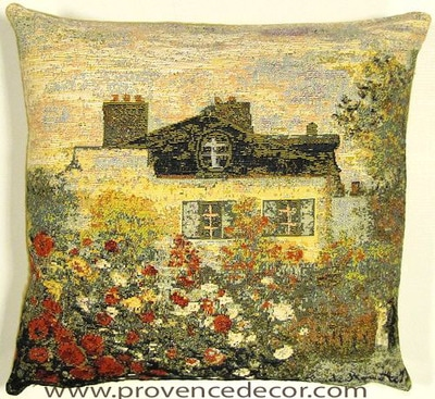 "The MONET GARDEN Tapestry Cushion is a replica of Claude Monet's famous artwork in Tapestry. The details are exquisite, looks like a real painting. These gorgeous Jacquard Tapestry Throw Pillow Cases are the authentic GOBELIN Tapestry woven with 100% high quality cotton, lined with a soft beige velvet backing and close with a zipper. Size: 18"" X 18"""