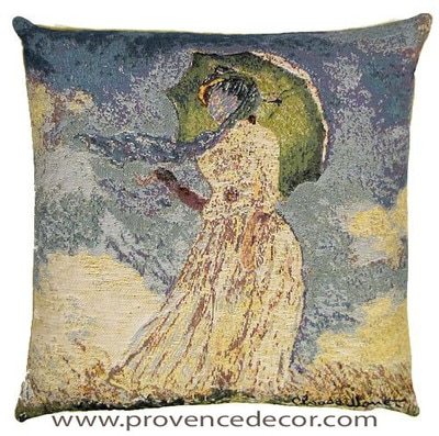 "The WOMAN PARASOL Tapestry Cushion is a replica of Claude Monet's famous artwork in Tapestry. The details are exquisite, looks like a real painting. These gorgeous Jacquard Tapestry Throw Pillow Cases are the authentic GOBELIN Tapestry woven with 100% high quality cotton, lined with a soft beige velvet backing and close with a zipper. Size: 18"" X 18"""