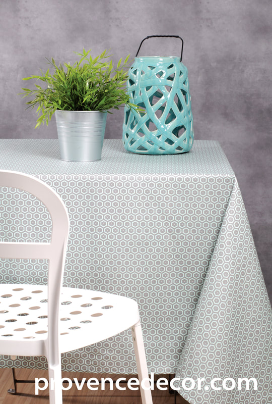 CLASSIC GRAY AQUA Acrylic Cotton Coated Contemporary Fashion Table cloths - French Oilcloth Spill Proof Wipe Off Indoor Outdoor Tablecloths - French Country Honeycomb Design Honey Bee lovers Home Decor Gifts