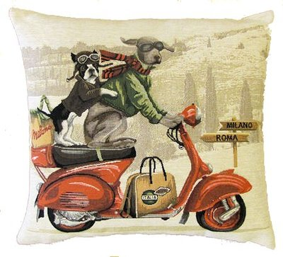 DOGS WEIMARANER AND FRENCH BULLDOG ON RED VESPA - SCOOTER European Belgian Tapestry Throw Pillow Cases - Decorative 18 X 18 Pillow Covers - Zippered Throw Pillow Case - Jacquard Woven Belgium Tapestry Cushion Covers - Fun Dressed Dog Throw Cushions - Dog Lover Gift - Antique Classic Motorcycles Home Decor