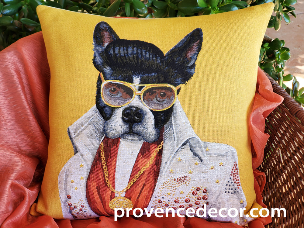 ELVIS PRESLEY BOSTON TERRIER Authentic European Tapestry Throw Pillow Cases - Elvis 60's 70's Songs Boston Terrier Dog Lovers Decorative Cushion Covers - Elvis Presley Fans Home Decor Gifts
