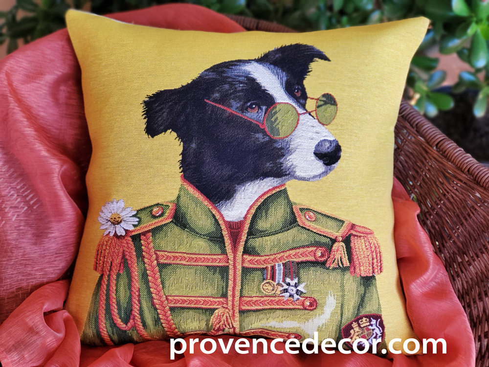 JOHN LENNON BORDER COLLIE Authentic European Tapestry Throw Pillow Cases - John Lennon Music Border Collie Dog Lovers Decorative Cushion Covers - John Lennon Yoko Fans Home Decor Gifts