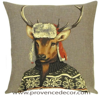MOUNTAIN DEER Belgian Tapestry Throw Pillow Cases - Decorative 18 X 18 Square Pillow Covers - Zippered Throw Pillow Case - Jacquard Woven Belgium Tapestry Cushion Covers - Fun Forest Animals Throw Cushions - Mountain House Forest Winter Ski Deer Stag Home Decor Gifts