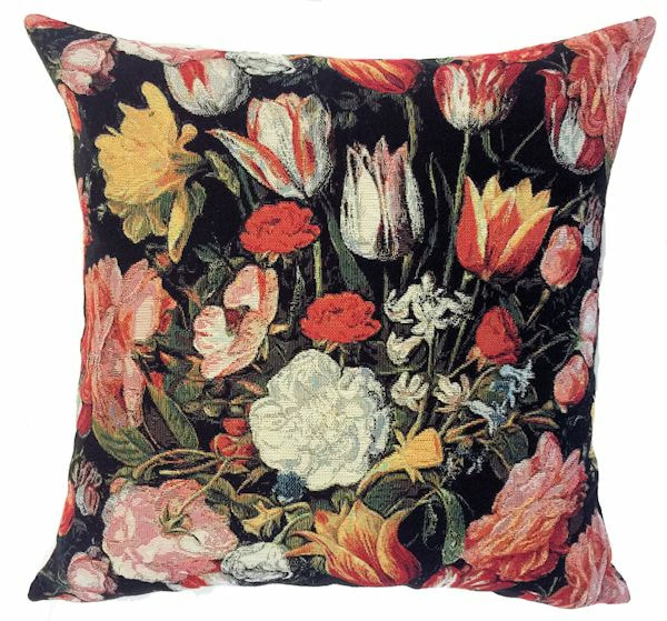 TULIPS BLACK Belgian Tapestry Throw Pillow Cases - Decorative 18 X 18 Square Pillow Covers - Zippered Throw Pillow Case - Jacquard Woven Belgium Tapestry Cushion Covers - Floral Tulips Reversible Throw Cushions - Elegant Home Decor Gifts