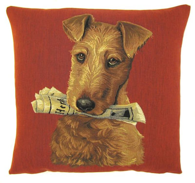 "DOG FOX TERRIER HOLDING NEWSPAPER Tapestry Pillow Covers are woven on a Jacquard loom (crafted with true traditional tapestry technique) with 100% high quality cotton thread, lined with a plain beige cotton backing and close with a zipper. Size: 18"" X 18"""
