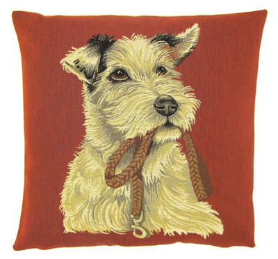 "DOG PARSON RUSSELL TERRIER HOLDING LEASH Tapestry Pillow Covers are woven on a Jacquard loom (crafted with true traditional tapestry technique) with 100% high quality cotton thread, lined with a plain beige cotton backing and close with a zipper. Size: 18"" X 18"""