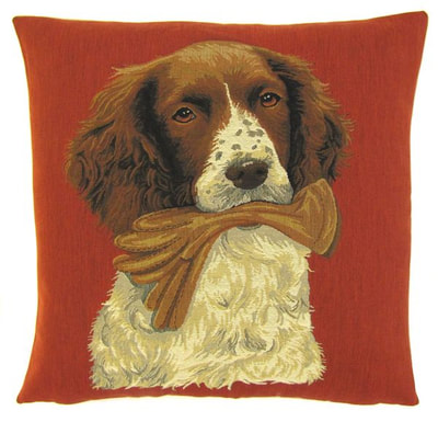 "DOG SPRINGER SPANIEL HOLDING GLOVE Tapestry Pillow Covers are woven on a Jacquard loom (crafted with true traditional tapestry technique) with 100% high quality cotton thread, lined with a plain beige cotton backing and close with a zipper. Size: 18"" X 18"""