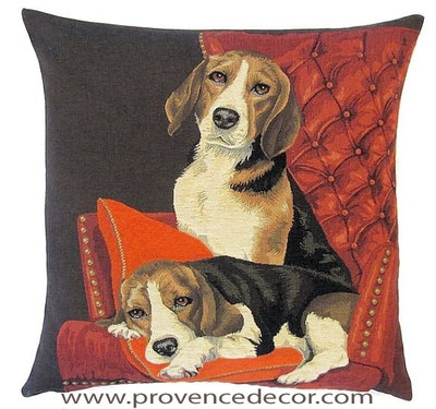 DOGS BEAGLES ON THE COUCH - SOFA European Belgian Tapestry Throw Pillow Cases - Decorative 18 X 18 Square Pillow Covers - Zippered Throw Pillow Case - Jacquard Woven Belgium Tapestry Cushion Covers - Fun Dressed Dog Throw Cushions - Dog Lover Gift - Beagles Dog Lover Home Decor Gifts