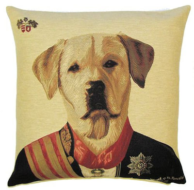 "DOG ARISTO YELLOW LABRADOR Tapestry Pillow Covers are woven on a Jacquard loom (crafted with true traditional tapestry technique) with 100% high quality cotton thread, lined with a plain beige cotton backing and close with a zipper. Size: 18"" X 18"""