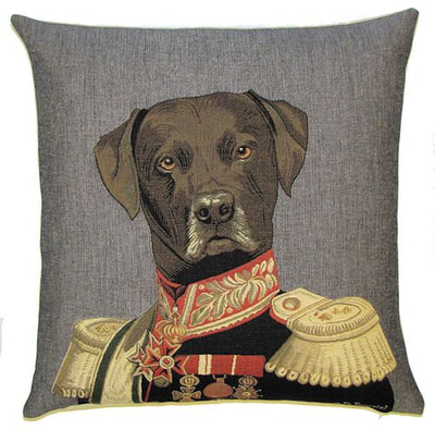 "DOG ARISTO CHOCOLATE LABRADOR Tapestry Pillow Covers are woven on a Jacquard loom (crafted with true traditional tapestry technique) with 100% high quality cotton thread, lined with a plain beige cotton backing and close with a zipper. Size: 18"" X 18"""