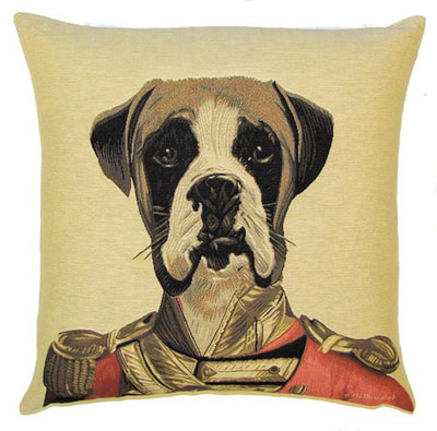 "DOG ARISTO BOXER Tapestry Pillow Covers are woven on a Jacquard loom (crafted with true traditional tapestry technique) with 100% high quality cotton thread, lined with a plain beige cotton backing and close with a zipper. Size: 18"" X 18"""