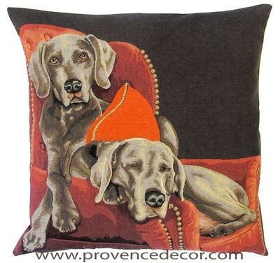 DOGS WEIMARANERS ON THE COUCH - SOFA European Belgian Tapestry Throw Pillow Cases - Decorative 18 X 18 Square Pillow Covers - Zippered Throw Pillow Case - Jacquard Woven Belgium Tapestry Cushion Covers - Fun Dressed Dog Throw Cushions - Dog Lover Gift - Weimaraner Dog Lover Home Decor Gifts