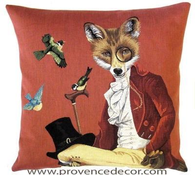 FOX WITH ANTIQUE MONOCLE 1700's Belgian Tapestry Throw Pillow Cases - Decorative 18 X 18 Square Pillow Covers - Zippered Throw Pillow Case - Jacquard Woven Belgium Tapestry Cushion Covers - Fun Forest Animals Throw Cushions - Mountain House Forest Fox antique Vintage Gentleman Home Decor Gifts