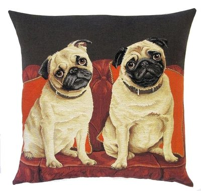 DOGS PUGS ON THE COUCH - SOFA European Belgian Tapestry Throw Pillow Cases - Decorative 18 X 18 Square Pillow Covers - Zippered Throw Pillow Case - Jacquard Woven Belgium Tapestry Cushion Covers - Fun Dressed Dog Throw Cushions - Dog Lover Gift - Pugs Lover Home Decor Gifts