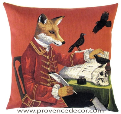 FOX WRITER inspired by SHAKESPEARE HAMLET PLAY Belgian Tapestry Throw Pillow Cases - Decorative 18 X 18 Square Pillow Covers - Zippered Throw Pillow Case - Jacquard Woven Belgium Tapestry Cushion Covers - Fun Forest Animals Throw Cushions - Mountain House Forest Fox antique Vintage Writer Home Decor Gifts