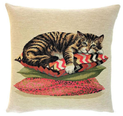 "LAZY TIGER CAT European Tapestry Cushion Cover is part of a collection of Three Portrait cushions: ""The Life of a Cat"".  These gorgeous Jacquard Tapestry Throw Pillow Cases are woven with 100% high quality cotton, lined with a plain beige cotton backing and close with a zipper. Size: 18"" X 18"""
