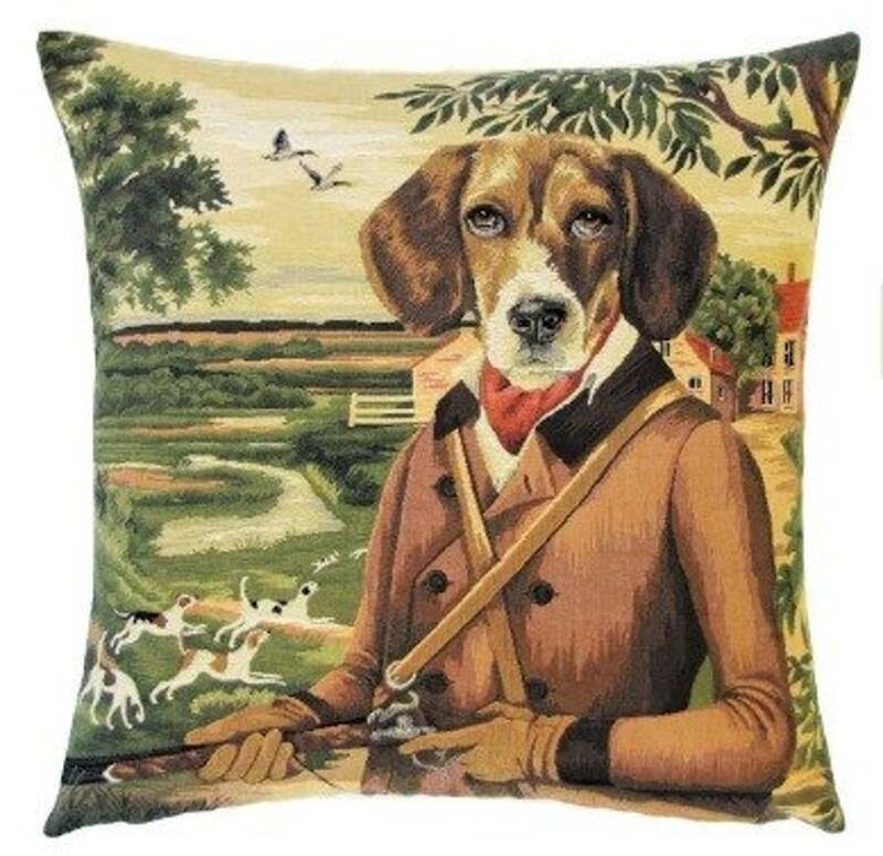 BEAGLE FOX GOOSE HUNTER BROWN Authentic European Tapestry Throw Pillow Case - Beagle Dog Lovers Fox Goose Hunter Decorative Pillow Covers - Fun Dressed Dogs Cushion Covers - Dog Art - Dog Home Decor Gifts