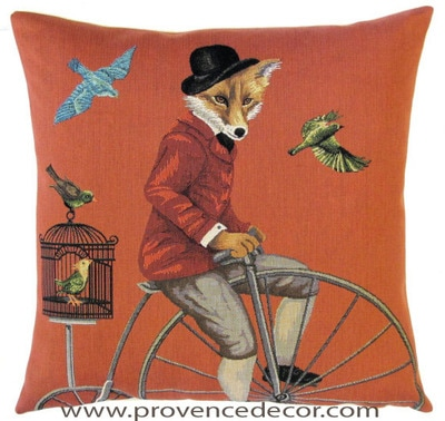 FOX ON ANTIQUE BICYCLE - PENNY FARTHING - HIGH WHEELER 1800's Belgian Tapestry Throw Pillow Cases - Decorative 18 X 18 Square Pillow Covers - Zippered Throw Pillow Case - Jacquard Woven Belgium Tapestry Cushion Covers - Fun Forest Animals Throw Cushions - Mountain House Forest Fox antique Vintage Bicycle Home Decor Gifts