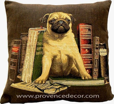 DOG PUG ANTIQUE BOOKS LIBRARY BROWN European Belgian Tapestry Throw Pillow Cases - Decorative 18 X 18 Square Pillow Covers - Zippered Throw Pillow Case - Jacquard Woven Belgium Tapestry Cushion Covers - Fun Dressed Dog Throw Cushions - Dog Lover Gift - Pugs Library Books Teacher Student Graduation Home Decor Gifts