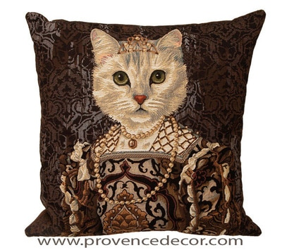 "The CAT QUEEN ISABEL DE BOURBON Tapestry Cushion Cover is a characterization of Queen Isabel de Bourbon - Spain. It is the authentic GOBELIN Tapestry woven with 100% high quality cotton, lined with a soft beige velvet backing and close with a zipper. Size: 18"" X 18"""