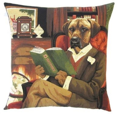 DOG RHODESIAN RIDGEBACK IN LIBRARY European Belgian Tapestry Throw Pillow Cases - Decorative 18 X 18 Square Pillow Covers - Zippered Throw Pillow Case - Jacquard Woven Belgium Tapestry Cushion Covers - Fun Dressed Dog Throw Cushions - Dog Lover Gift - Rhodesian Library Books Teacher Student Graduation Home Decor Gifts