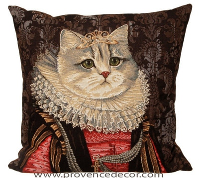 "The CAT QUEEN ISABELLA Tapestry Cushion Cover is a characterization of Queen Isabella de Castille - Spain.​ It is the authentic GOBELIN Tapestry woven with 100% high quality cotton, lined with a soft beige velvet backing and close with a zipper. Size: 18"" X 18"""