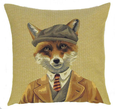 Belgian Tapestry Throw Pillow Cases - Decorative 18 X 18 Square Pillow Covers - Zippered Throw Pillow Case - Jacquard Woven Belgium Tapestry Cushion Covers - Fun Forest Animals Throw Cushions - Mountain House Forest Fox Gentleman Paris Home Decor Gifts