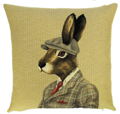 "RABBIT WITH FRENCH BERET PARIS FASHION Tapestry Pillow Covers are woven on a Jacquard loom (crafted with true traditional tapestry technique) with 100% high quality cotton thread, lined with a plain beige cotton backing and close with a zipper. Size: 18"" X 18"""